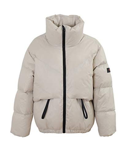 M2C Women's Winter Thickened High Stand Collar Puffer Down Jacket Beige