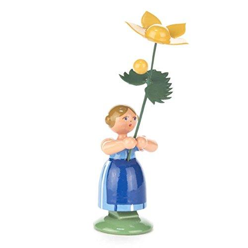 Blumenmädchen mit Sumpfdotterblume, Figur aus Holz, 11 cm, von DREGENO SEIFFEN – Original erzgebirgische Handarbeit, stimmungsvolle Dekoration