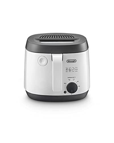 De'Longhi Freidora FS3021, termostato ajustable, diseño compacto, capacidad de 2 l, 1800 W, plástico, color blanco/negro