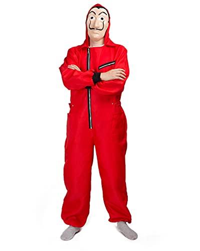 Tomlyws Disfraz de casa del dinero, temporada 4, con máscara, temporada 3 y 4, mono rojo Dali, para hombre, mujer y adulto, carnaval, Halloween, talla M