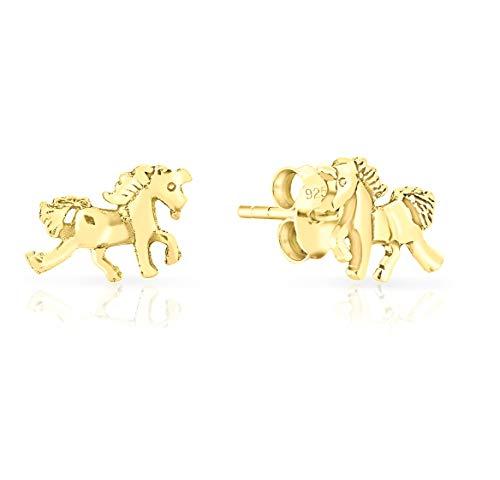DTPsilver® Aretes/Pendientes Pequeños de Plata de Ley 925 Chapado en Oro Amarillo - Caballo Unicornio - Dimensión: 11 x 7 mm