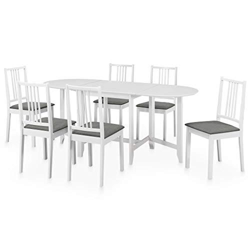 vidaXL Set per Sala da Pranzo 7pz Design Intramontabile Funzionale Durevole Allungabile Stabile Resistente Tavolo Tavola Seggiole Sedie in MDF Bianco
