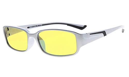 Eyekepper Anti blauw licht meer dan 94% computer leesbril, geel getint lens +0.50 Silver/Black Arm