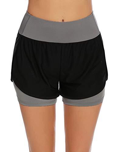 COOrun Pantalones cortos 2 en 1 para mujer, para correr, gimnasio, fitness, jogging gris XXL
