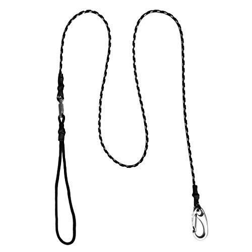 T TOOYFUL 125 Cm/49 Pulgadas Correa De Paddle Caña De Pesca Soporte De Cuerda Con Clip - Negro