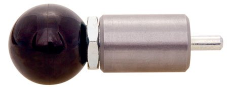 A=3/8, B=9/16, C=1 1/2, D=1, E=3/16, F=1 3/8, Steel Plunger-Housing, Standard, Round Handle, Spring Loaded-Pull Pin (1 Each)