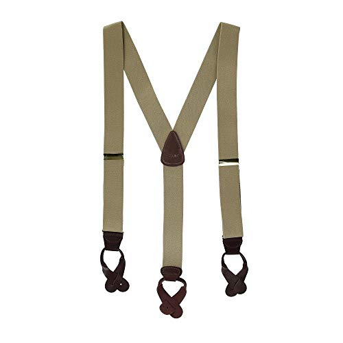 CTM® Mens Elastic Button End Suspenders (Tall Available), Regular, Khaki