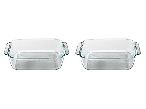 Set of 2 Pyrex 8' Square Baking Dish bundled by Maven Gifts