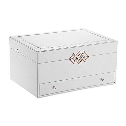 Suytan Caja de Almacenamiento de Joyas Caja de Joyería Armario Pendiente Organizador de Pulsera Espejo de 3 Capas para Collares Anillos Pulseras Broches/Blanco