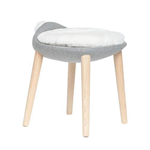 LiChaoWen Nordic Creative Dormitorio Conejo Cola Maquillaje Vestido Taburete de uñas Muebles de Madera Maciza Taburete Vanity Chair (Color : White, Size : 42x42x50cm)