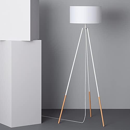 LEDKIA LIGHTING Lámpara de Pie Kathathu 1415x550x550 mm Blanco E27 Casquillo Gordo Metal Decoración Salón, Habitación, Dormitorio