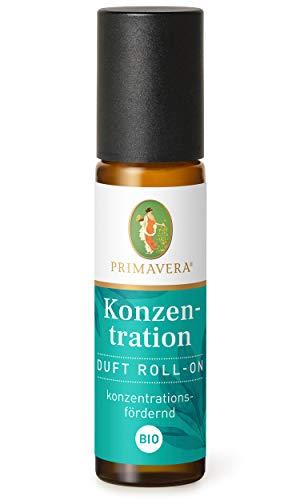 PRIMAVERA Duft Roll-On Konzentration bio 10 ml - Zitrone, Riesentanne und Salbei - Aromaöl, Duftöl, Aromatherapie für unterwegs - konzentrationsfördernd - vegan