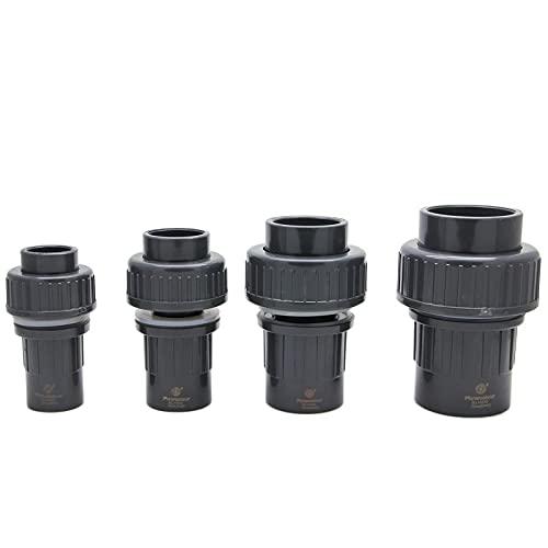 TYUTEQN Flowcolour 50 mm UPVC Conector rápido Mamparo Accesorios de tubería Acoplador Conector de Agua para riego de jardín Sistema hidropónico-Gris Oscuro, 40MM DN32
