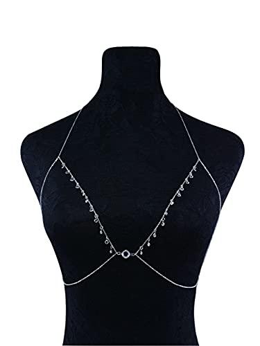 Crystal Rhinestone Bead Cadena Cadena Cadena Cuerpo Joyería Bikini Sujetador Infinito Personalidad Cadena Corporal Accesorios para Mujeres y niñas Oro (Color : Silver)