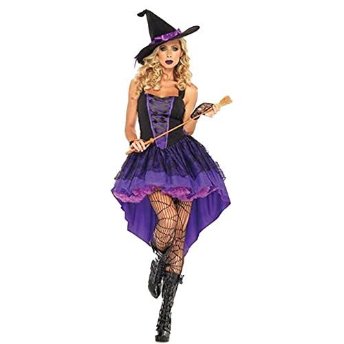 Halloween Hexe Kostüm für Frauen Kleid Hut Party Weibliche Anzug (Color : A, Größe : Large)