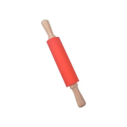 Silicone Rolling Pin Non stick Surface Wooden Handle 1.97X15.15 (Red)