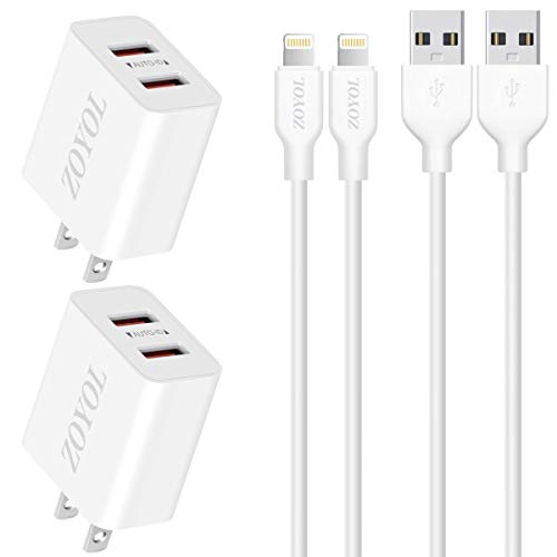 iPad Charger Apple MFi Certified 6 FT Sync & Fast Charging Lightning Cable with 2 Port USB Wall Charger Travel Plug Compatible iPad 4 Mini Air Pro, iPhone 11 XS XR X 8 7 6s 6 Plus SE 5s Charger, iPod