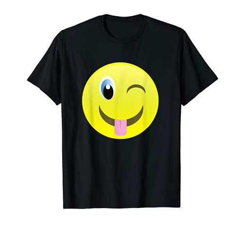 Lengua hacia fuera Winking Emojis Cara Disfraz Emoticon Camiseta