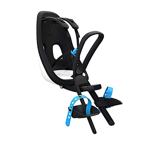 MOME Asiento de bicicleta para niños, asiento de seguridad infantil con cinturón de seguridad, cinturón de seguridad ajustable, cómodo, seguro y ajustado, negro