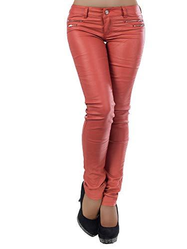 Diva-Jeans Damen Jeans Hose Hüfthose Damenjeans Hüftjeans Röhrenjeans Leder-Optik L521, Farbe: Bronze, Größe: 38 (M)