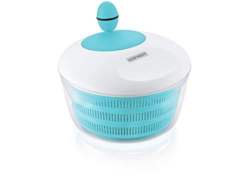 Leifheit Salatschleuder Colour Edition Sky Blue für Rechts- und Linkshänder, Salatschüssel zum Servieren, Küchenhelfer in trendiger Farbe