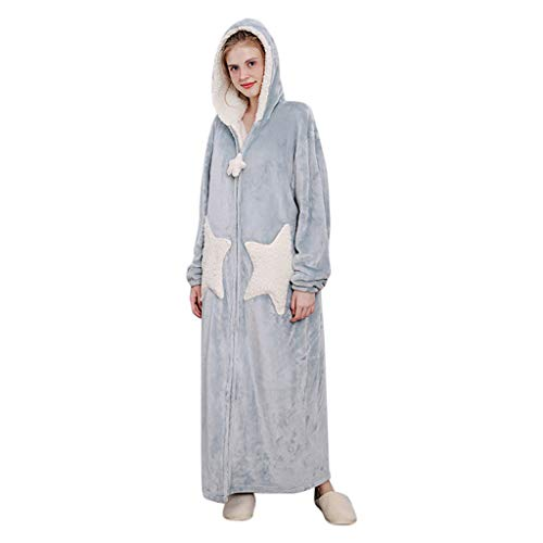 Peignoir à Capuche Femme Velours Robe De Chambre en Polaire ZippéE Kimono Longue Bathrobe Pyjama Manche Longue Peignoir De Bain Microfibre Sleepsuit Chic (Bleu, L)
