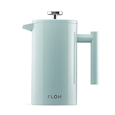 FLOH French Press for Coffee & Tea in Blue - 34 Oz Insulated Stainless Steel Coffee Maker