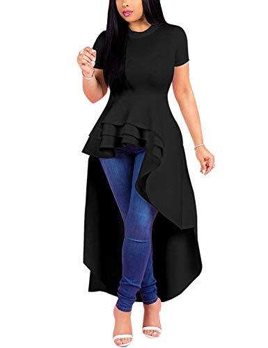 Lrady Women Ruffle High Low Asymmetrical Short Sleeve Peplum Tops Blouse Shirt Dress Black 3XL (Apparel)