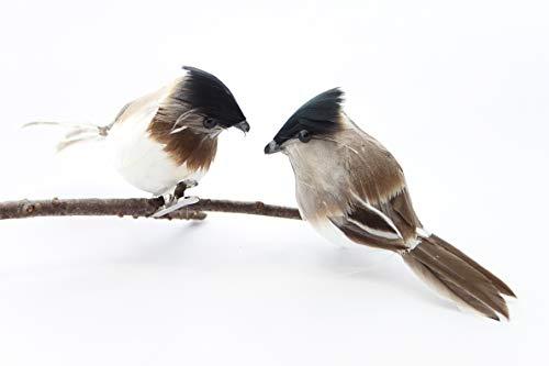Festive à Plumes Gris et Blanc Oiseaux à Clipser Décoration Lot de 2