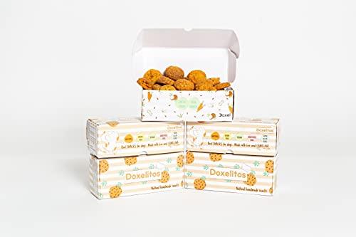 Doxel Supplements Snacks para Perros 100 % Naturales Doxelitos, Premio para Perros, Todas Las Razas y Edades, Fácil Digestión, hipoalergénica y Grain Free, 5 Cajas de Doxelitos 25unid/Caja