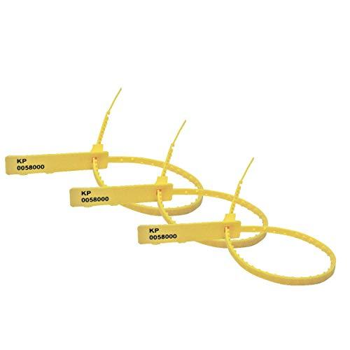 Sicherheitsetiketten, nummerierte Etiketten, Zahlenschilder, Sicherheitskabelbinder, hergestellt in Großbritannien 100 gelb