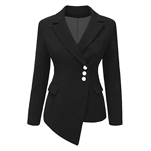 iHENGH Damen Herbst Winter Bequem Lässig Mode Frauen Art und Weisefrauen OL Art Lange Hülsen unregelmäßiger Blazer Eleganter dünner Anzug Mantel(Schwarz, S)