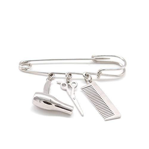 ROTOOY Broche de Estilista de Cabello, alfiler de Poste de barbero, Peine para secador de Pelo, Colgante de Tijera, alfileres de Hebilla, broches, joyería para peluquería, regalo-004_Silver