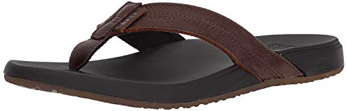 Reef Men's Sandals Cushion Bounce Phantom LE | Full Grain Leather Upper with Padded Lining | Black/Brown | Size 12
