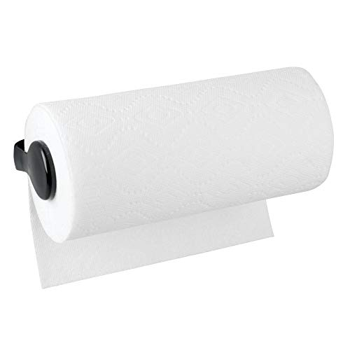 mDesign Plastic Wall Mount Paper Towel Holder & Dispenser, Mounts to Walls or Under Cabinets - for Kitchen, Pantry, Utility Room, Laundry and Garage Storage - Holds Jumbo Rolls - Black