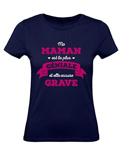 Fête des Mères Maman Géniale Qui Assure Grave T-Shirt Femme Medium Marine