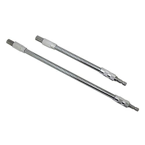 AUTOTOOLHOME 2pc Flexible Extension Drill Bit Holder Flex Shaft Impact Driver for Hand Ratchet Screwdriver Bits Quick Change Magnetic 1/4 Hex Shank