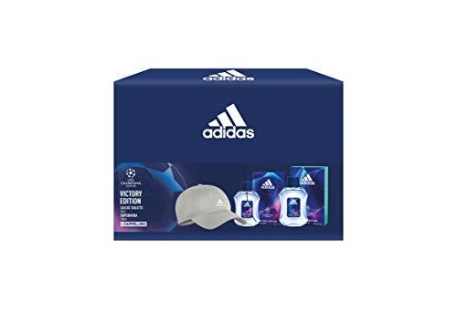 Adidas, Confezione Regalo UEFA Champions League Victory Edition, Profumo Uomo 50 ml, Dopobarba 100 ml e Cappello Baseball Grigio