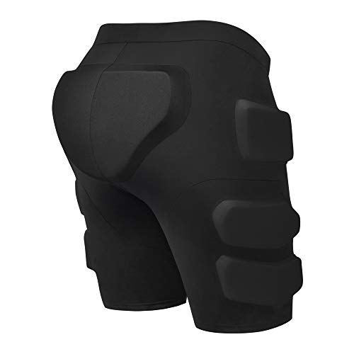 Gonex Protective Padded Shorts for Snowboard Ski Skate, 3D Protection Padded Skating Shorts, 2 cm Thicken EVA for Hip, Butt and Tailbone Impact Pads Shorts Black M