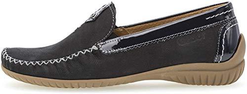Gabor Damen SlipperMokassins, Frauen Slipper,Comfort-Mehrweite, Slip-on College Schuh Loafer businessschuh Damen,Nightblue (S.Natur),40.5 EU / 7 UK