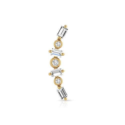 Pendiente escalador único, certificado SGL de 0,60 ct en forma de baguette de diamante, pendientes apilados de cartílago, caracola Helix Body Jewellery, Oro rosa Espalda plana, Única pieza 5.5mm