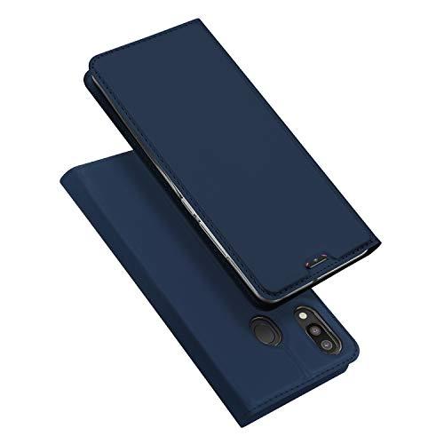 DUX DUCIS Hülle für Samsung Galaxy M20, Leder Flip Handyhülle Schutzhülle Tasche Hülle mit [Kartenfach] [Standfunktion] [Magnetverschluss] für Samsung Galaxy M20 (Blau)