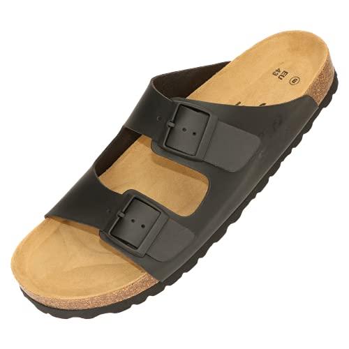 Soft Steps Pantoletten weit für kräftige Füße Unisex, Made in EU – Pantoffeln Herren in Schwarz Gr. 42