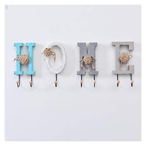 Percheros pared Perchero montado en la pared de estilo europeo Gancho de madera estante de la pared que cuelga del pórtico rack creativa Carta Decoración gancho for la ropa Cuelga Llaves Pared Colgado