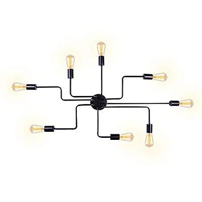 T&A Vintage Metal Sputnik Chandelier Semi Flush Mount Ceiling Light,Modern Industrial Style Lighting Fixture...