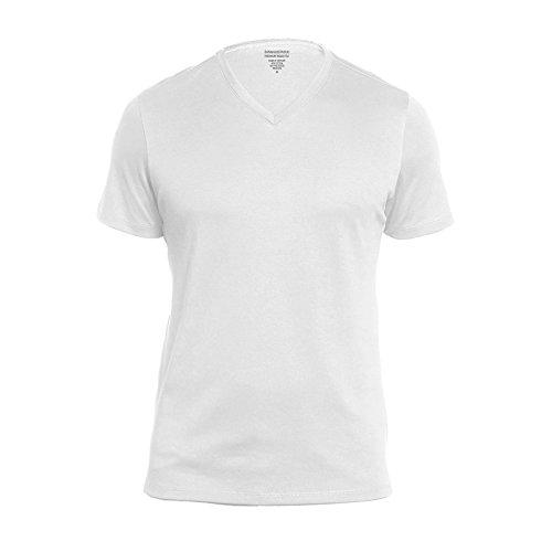 BANANA REPUBLIC Premium-Wash V Neck Tee (Medium, White)