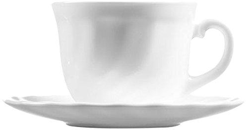 Luminarc Trianon Tasses à Café avec Assiettes, Verre, Blanc, 6 Pièces