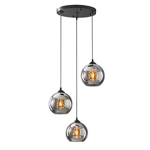H.W.S Glas Pendelleuchte Kristall Pendellampe Modern Kugel Kronleuchter Design Kreative Hängeleuchte Höhenverstellbar Innen Dekoration Hängelampe Wohnzimmer Leuchte (Smoky gray, 3 flamming round)