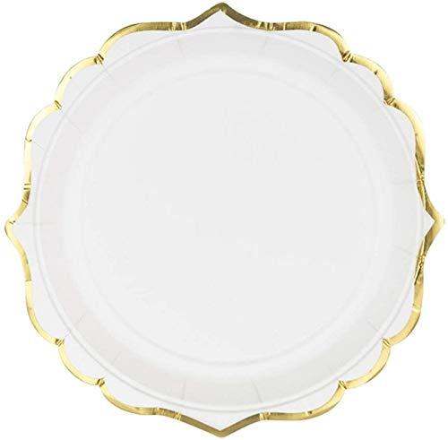 Edle Party-Teller Papp-Teller Einweg-Geschirr weiß mit Gold-Rand Tisch-Deko Geburtstag Hochzeit Party Tisch-Dekoration Accessoires & Zubehör Candy-Bar 12 Teller