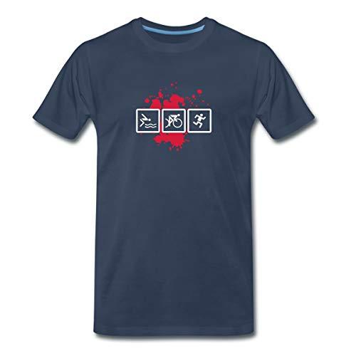Triathlon Piktogramme Schwimmen Radfahren Laufen Männer Premium T-Shirt, M, Navy